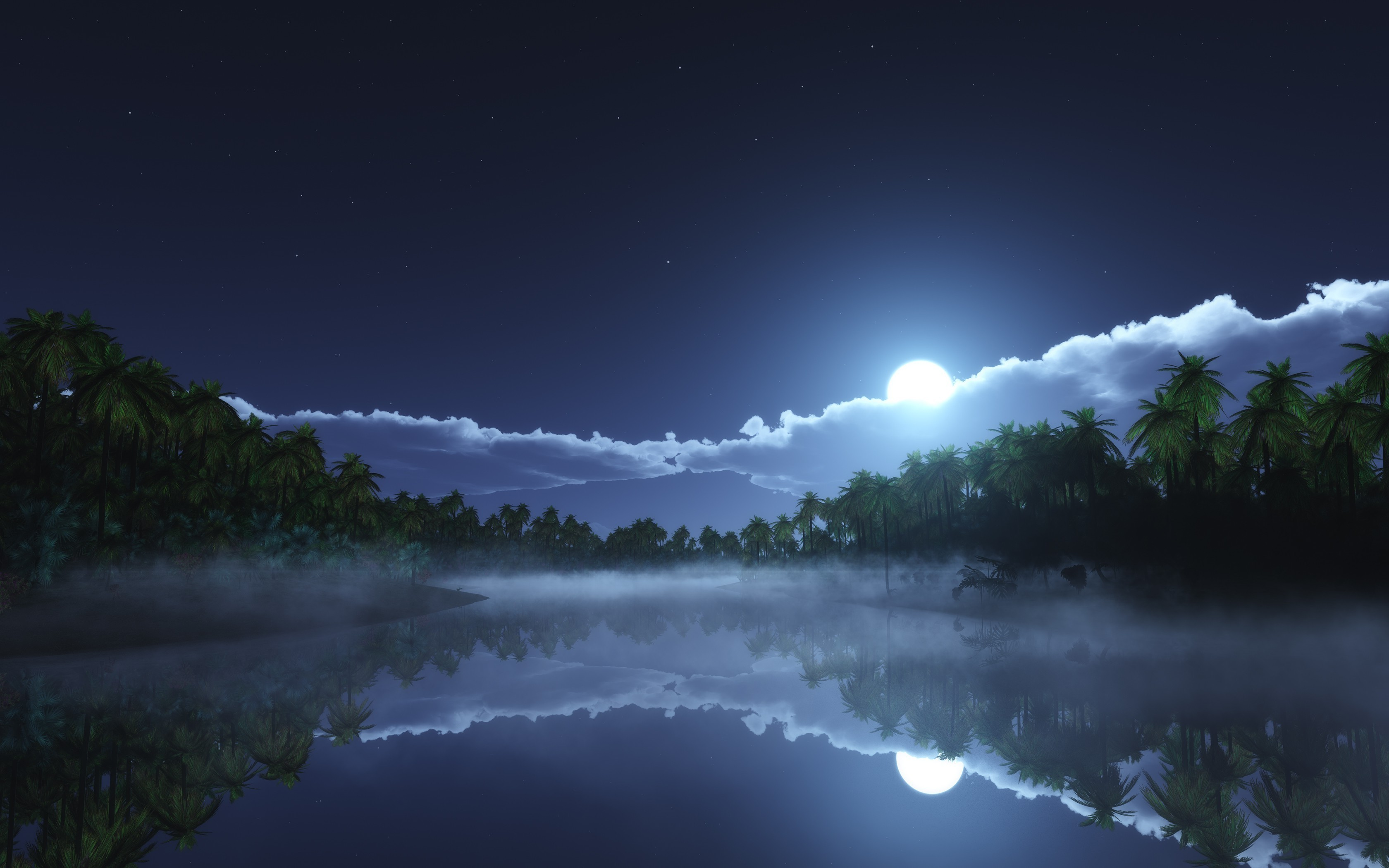 3360x2100 nature, Landscape, Starry Night, Moonlight, Clouds, Tropical, Mist, Palm