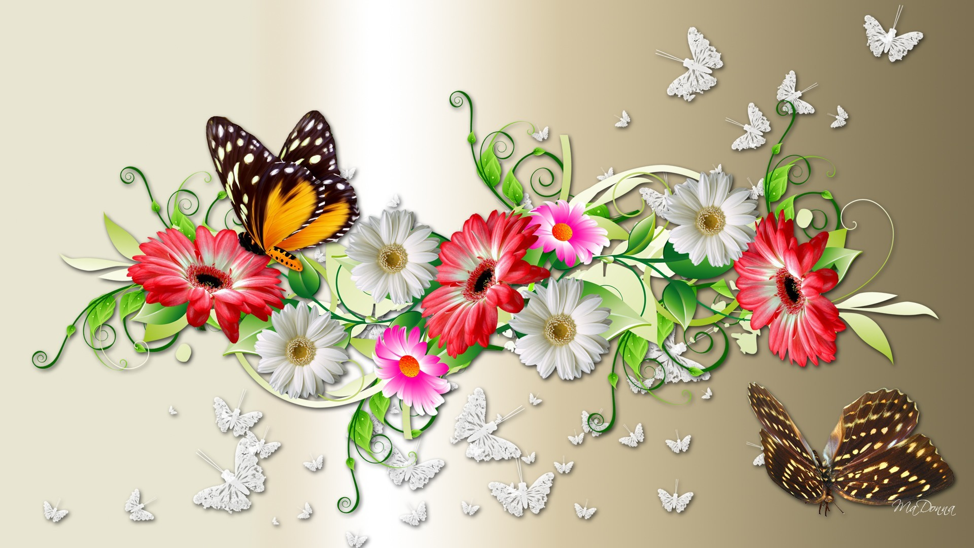 1920x1080 Spring Flowers And Butterflies Background