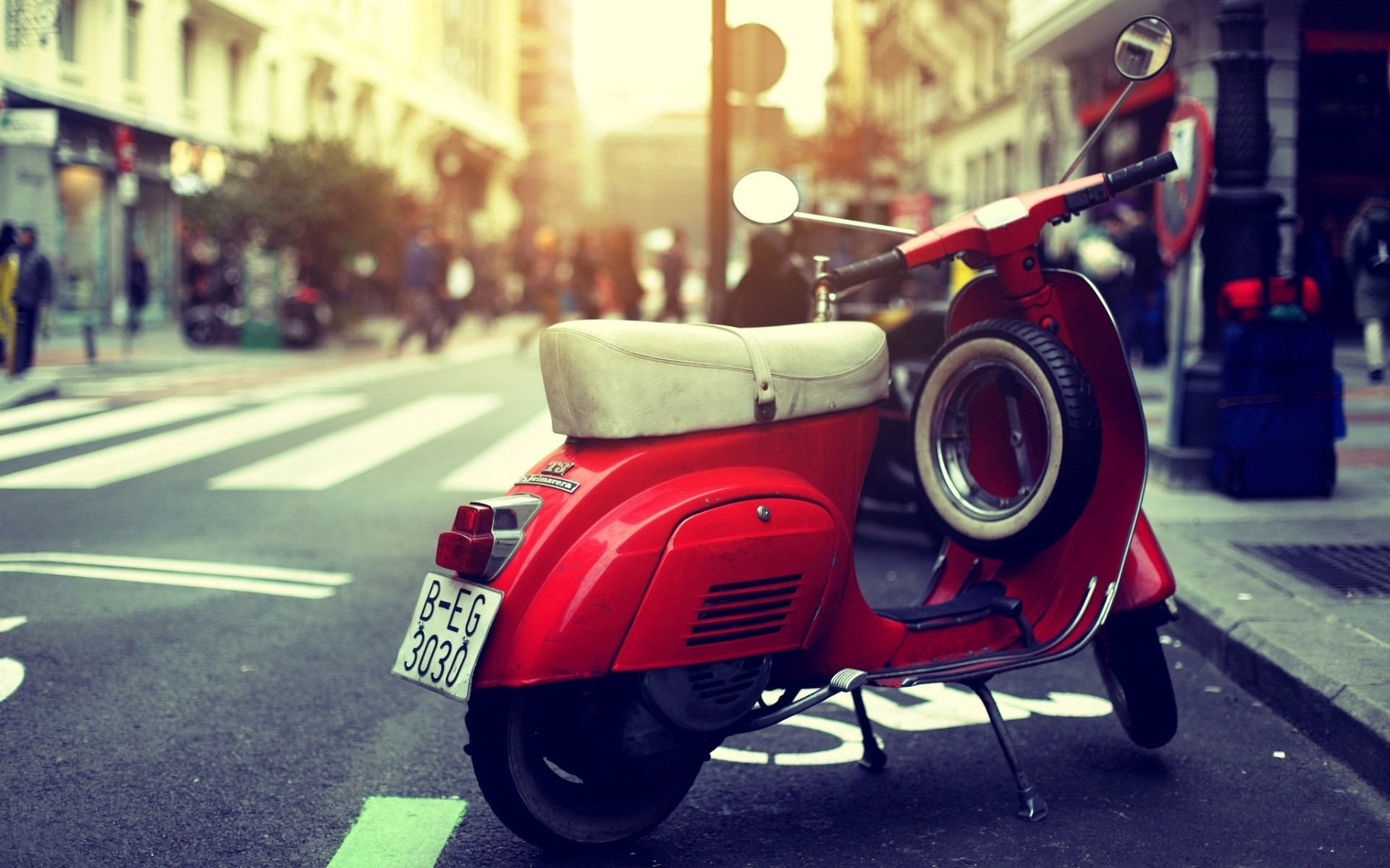 1920x1200 vespa scooter, red, street, photo