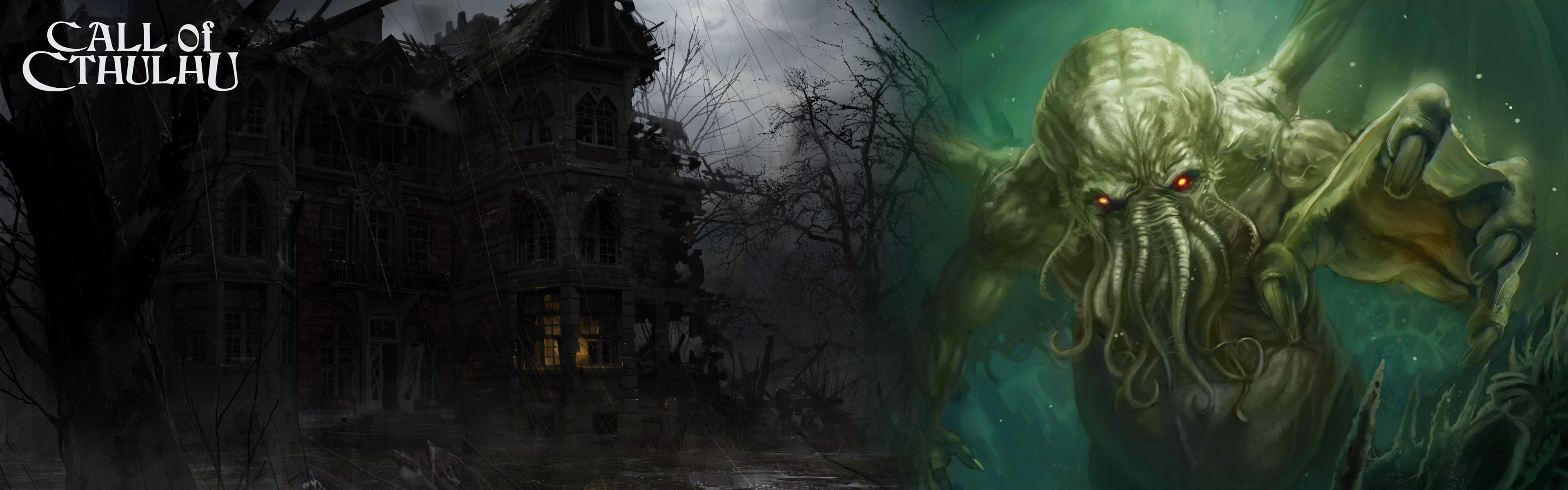3840x1200 Cthulhu Awaits · CthulhuDisplayWallpaperThings