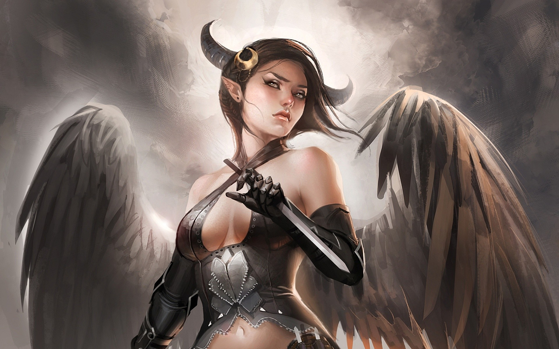 Angel and devil wallpaper 61 images - Angel girl wallpaper ...