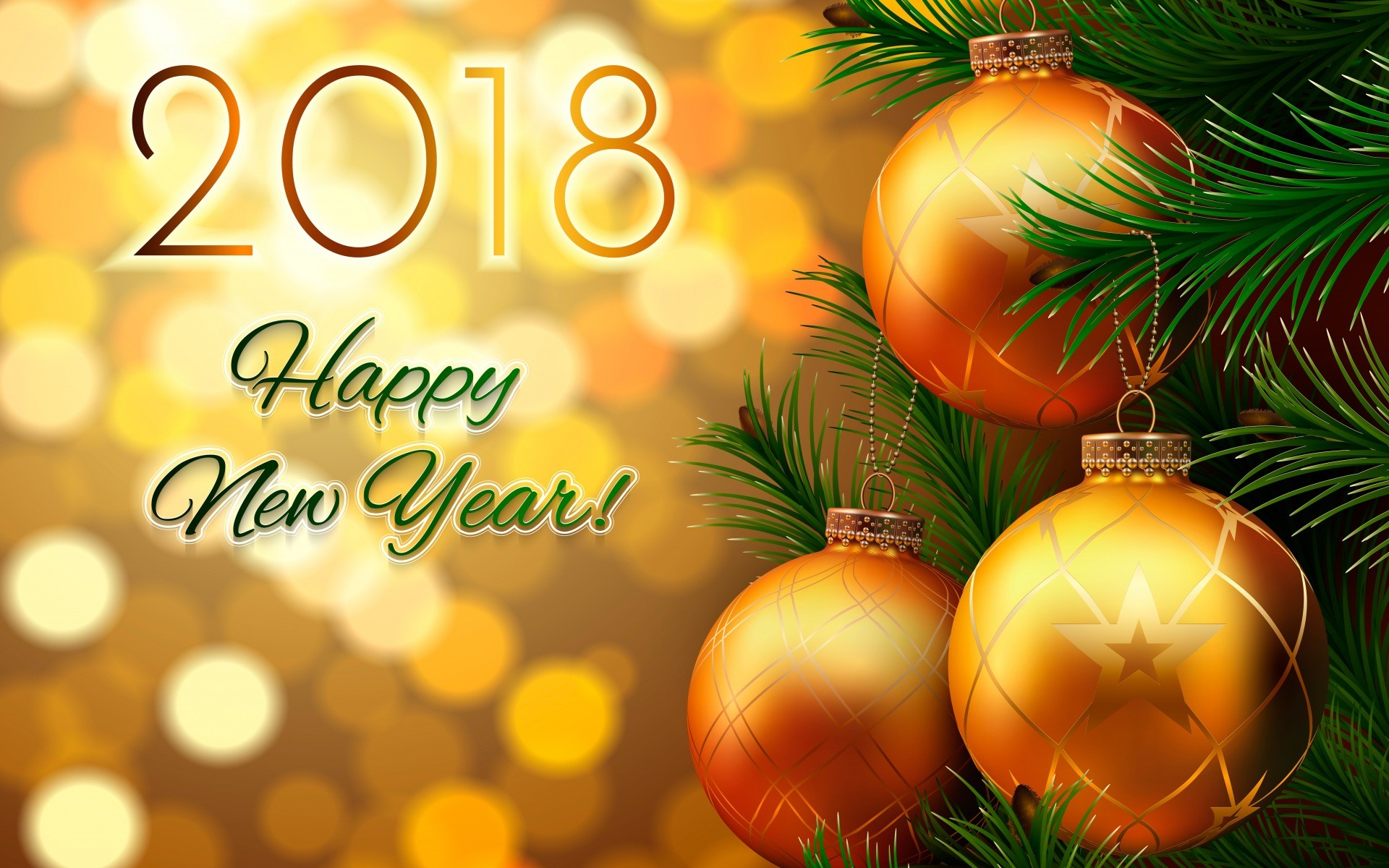 1920x1200 Christmas Ball And Happy New Year 2018 Wallpaper 27518