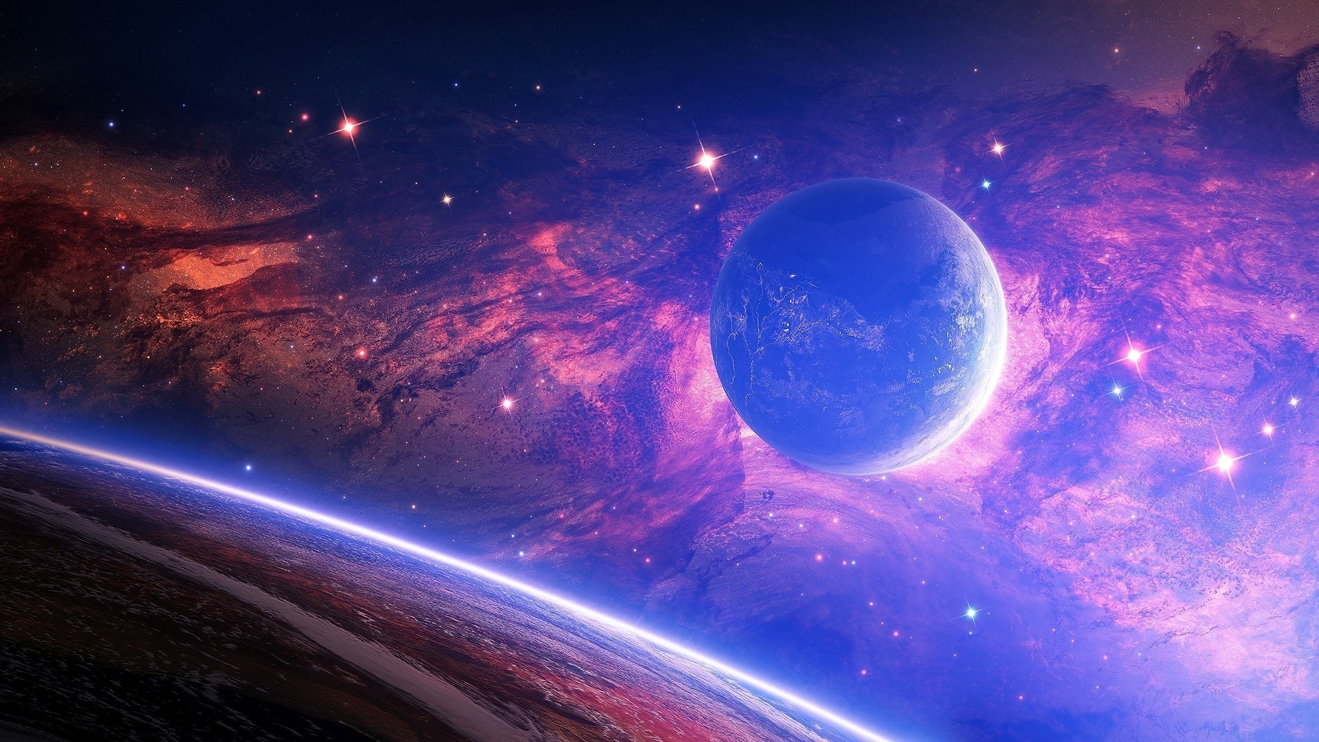1920x1080 Preview wallpaper planet, light, spots, space