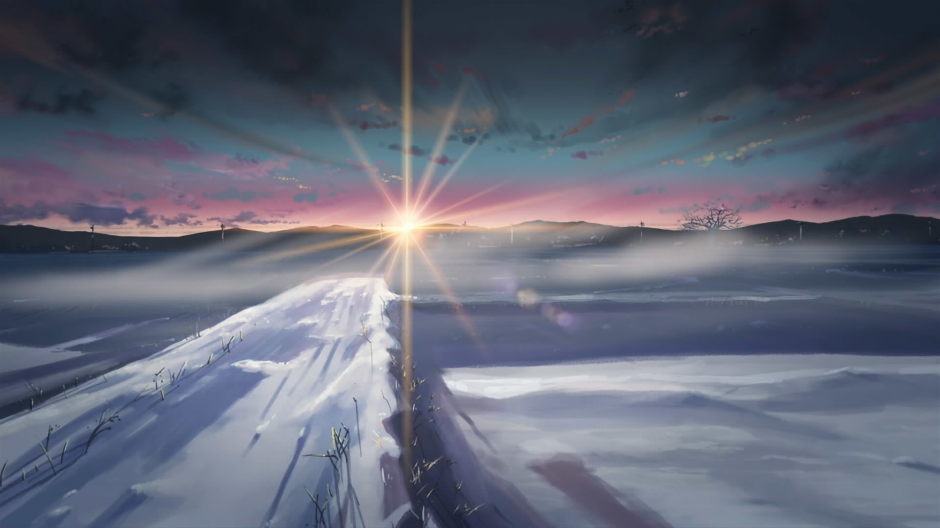 1920x1080 winter, snow, Makoto Shinkai, sunlight, 5 Centimeters Per Second - Free  Wallpaper / WallpaperJam.com