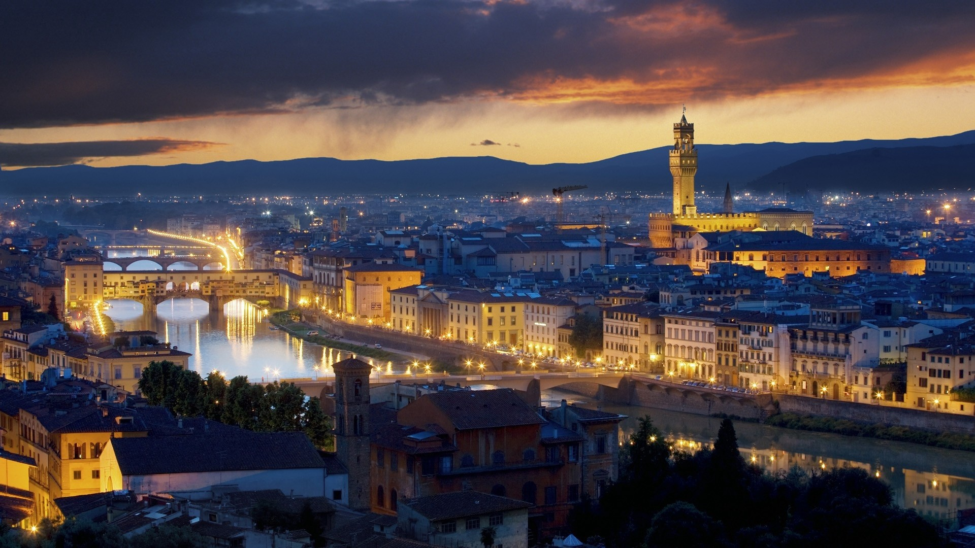 1920x1080  Wallpaper ponte vecchio, florence, italy, buildings, river,  lights city
