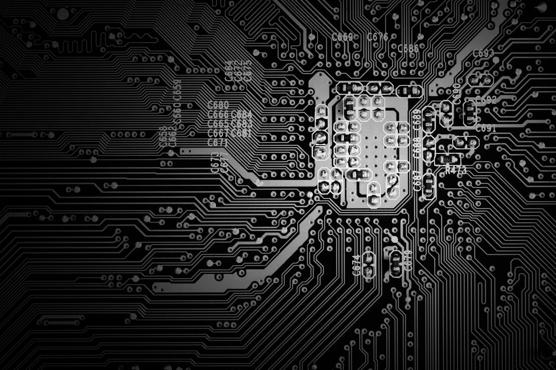 1920x1280 circuit board black and white
