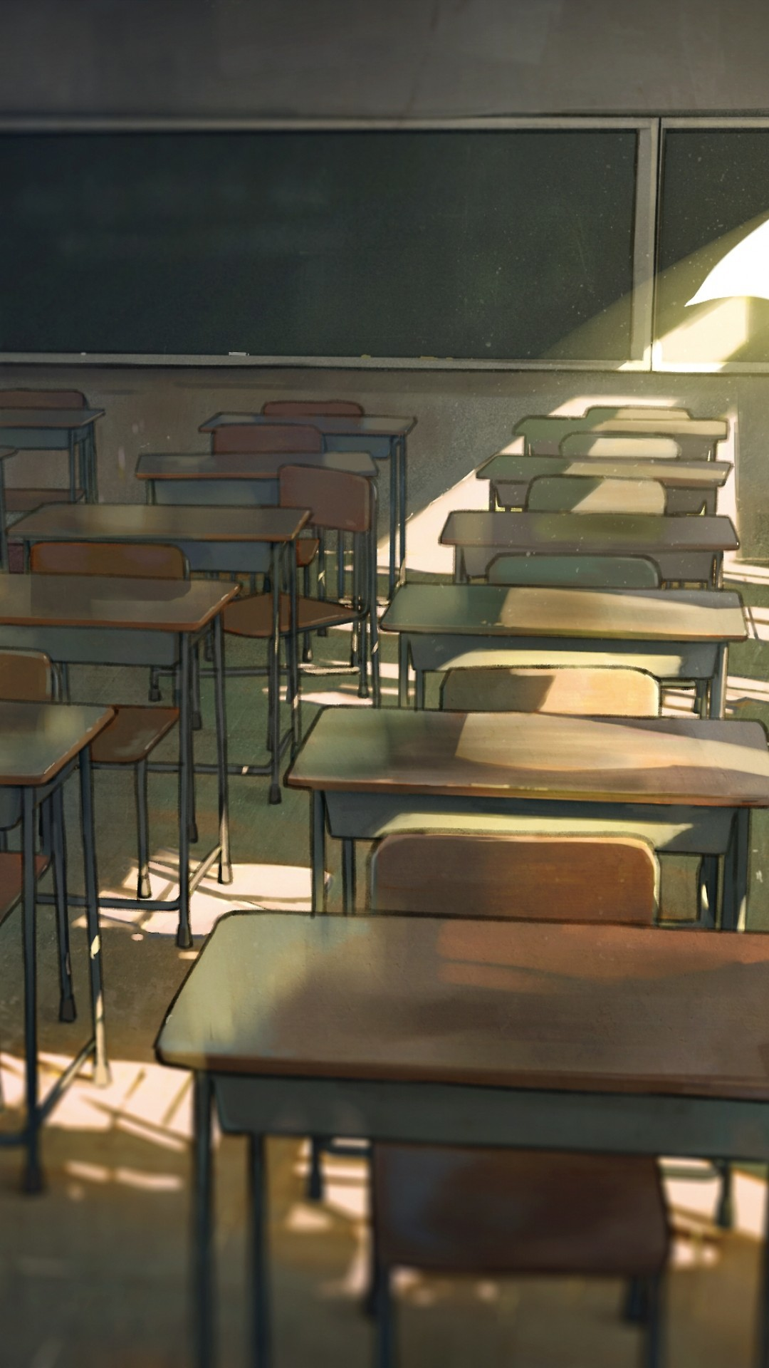 1080x1920 Anime School, Classroom, Desks, Wind, Lonely Boy