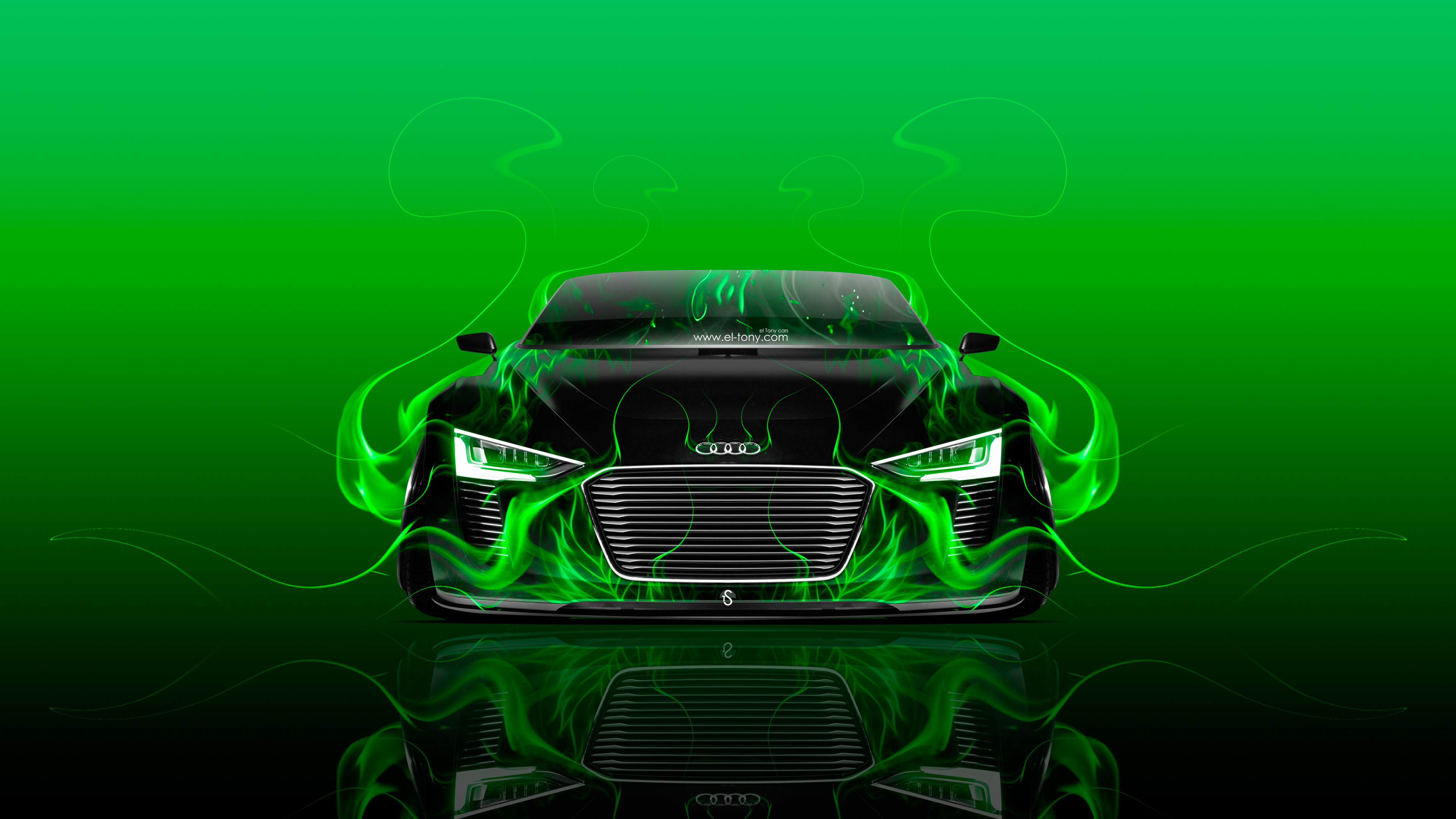3840x2160 ... Audi-e-tron-Spyder-Front-Fire-Abstract-Car- ...