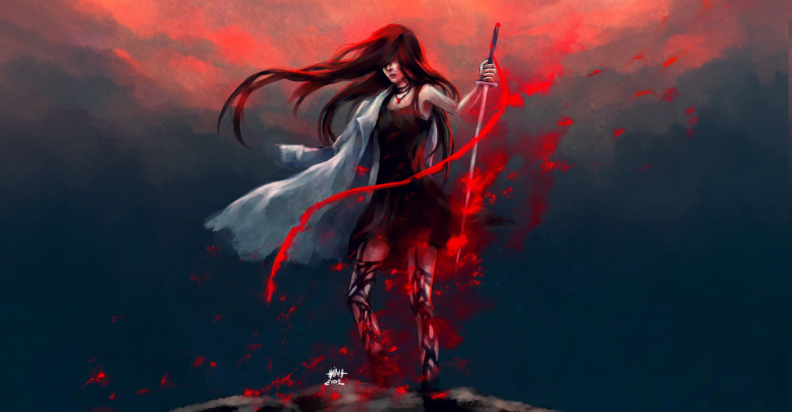 2700x1404 artwork, Fantasy Art, Anime, Warrior, Redhead, Blood, NanFe, Original