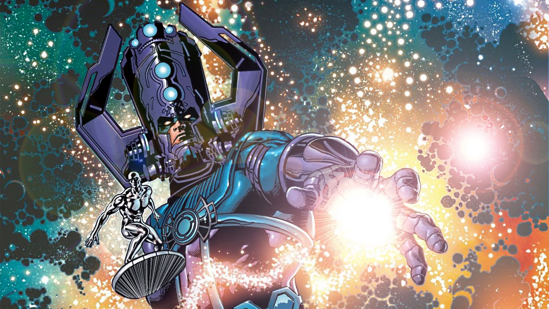 1920x1080 ... Galactus and The Silver Surfer by ProfessorAdagio
