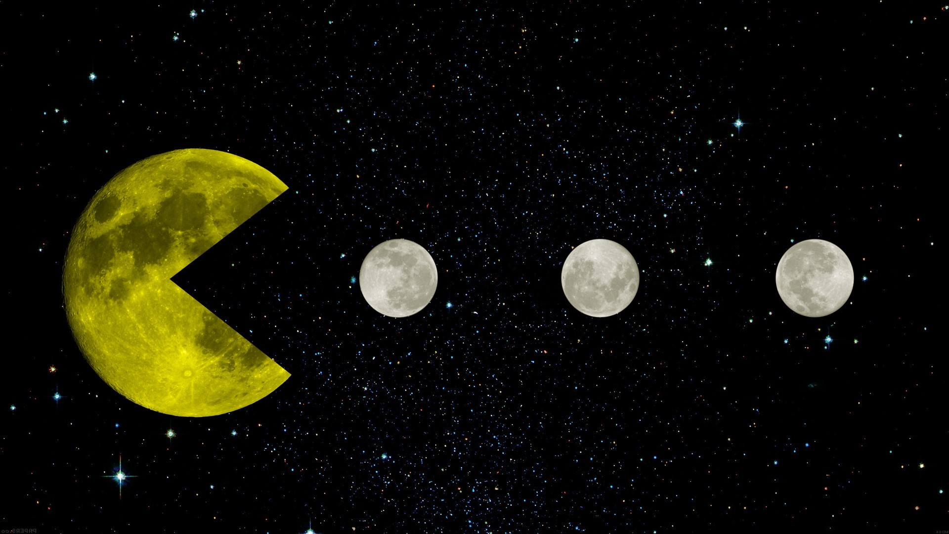 1920x1080 Pac Man, Yellow, Space, Moon, Moon, Stars, Black, Retro Games, Creative  Design, Infinity Wallpapers HD / Desktop and Mobile Backgrounds