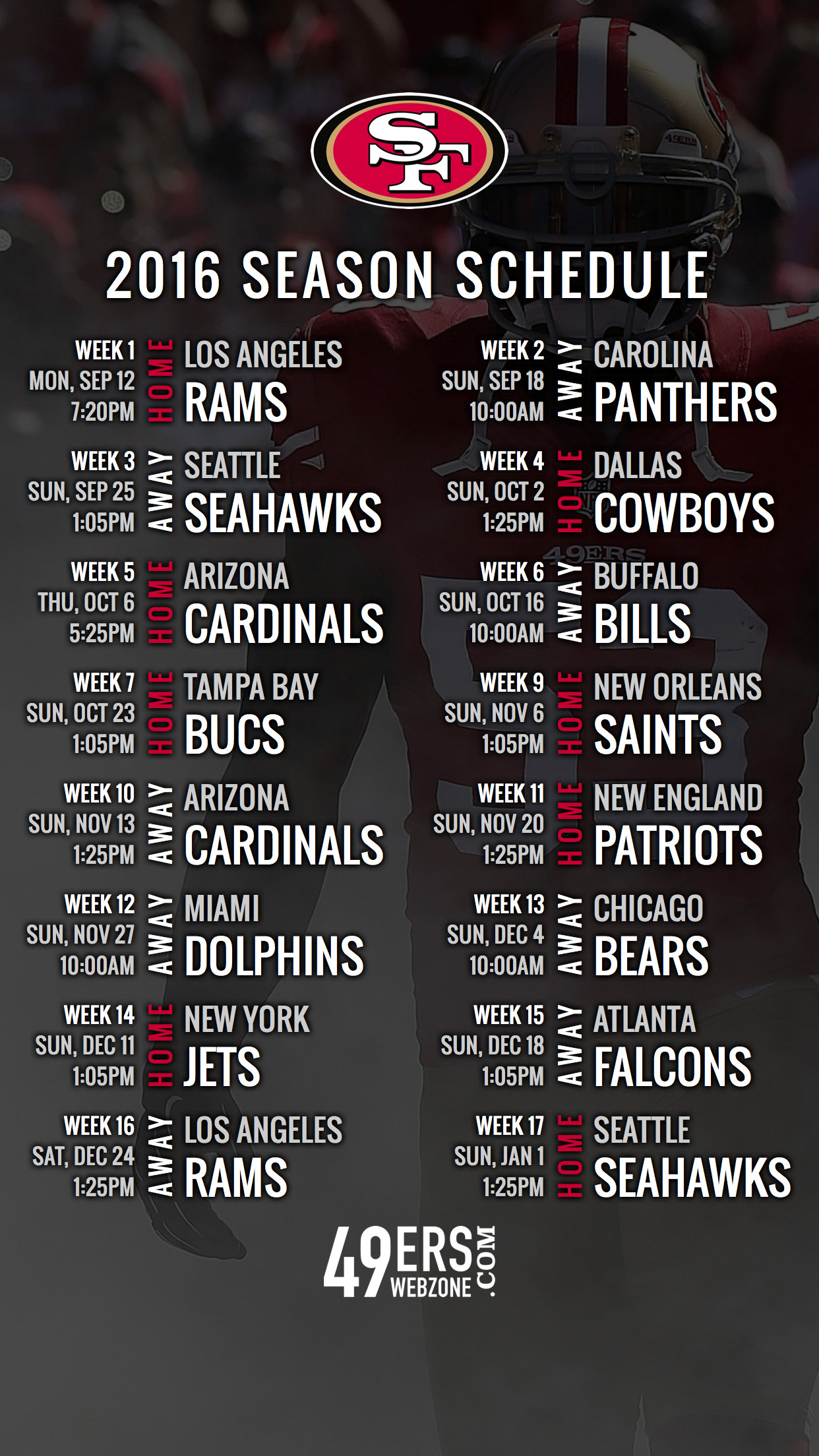1242x2208 San Francisco 49ers 2016 Schedule Wallpaper for Your Phone