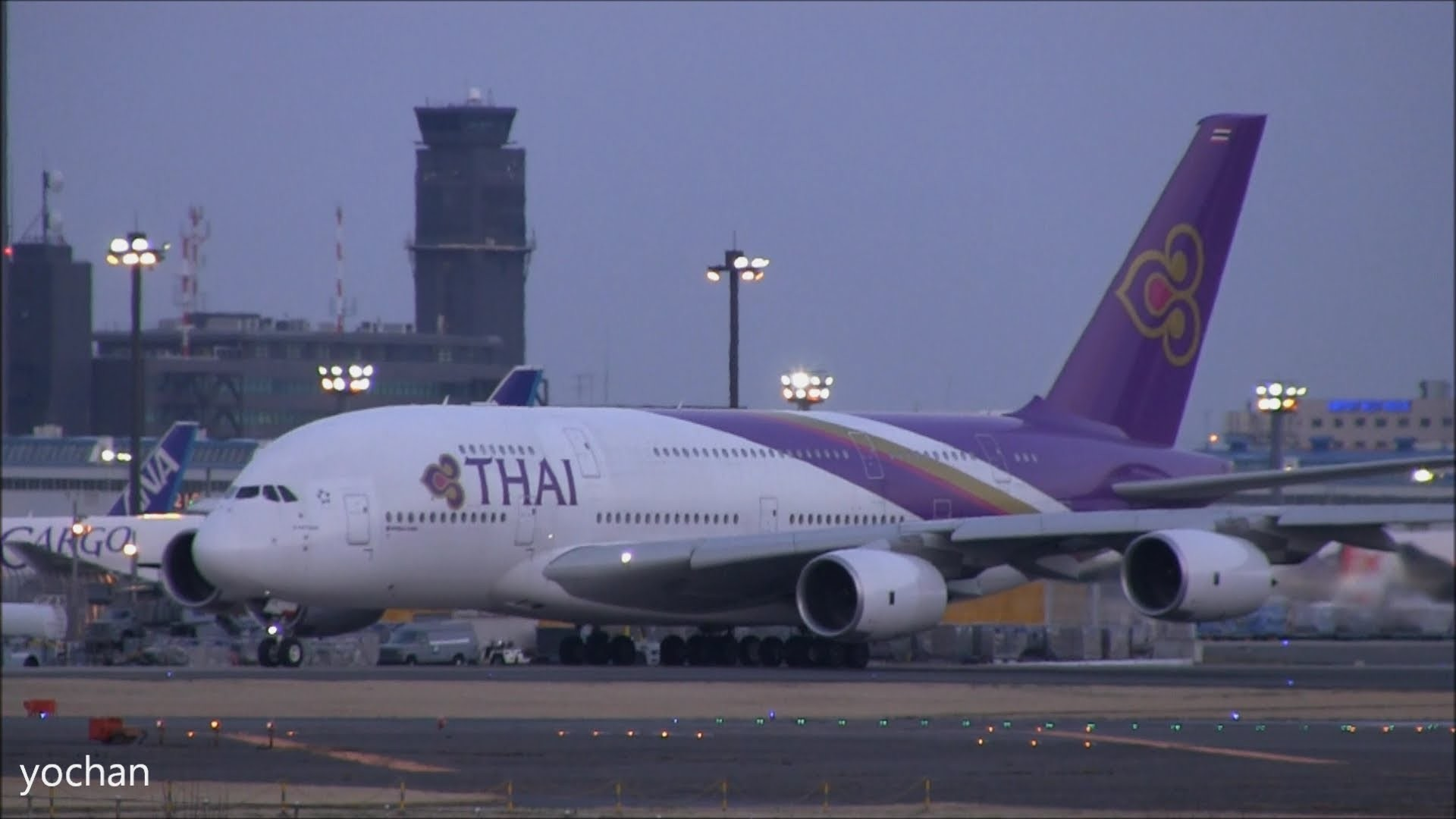 1920x1080 Thai Airways International (บริษัท การบินไทย จำกัด) Airbus A380-841  (HS-TUA).Taxiing and Take-off