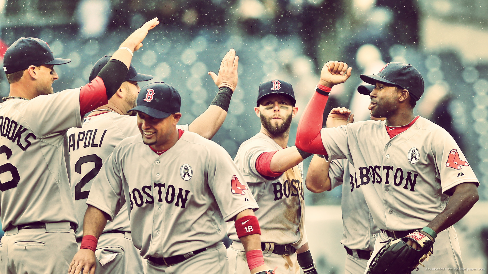 1920x1080 Boston Red Sox Cheering in Rain picture.