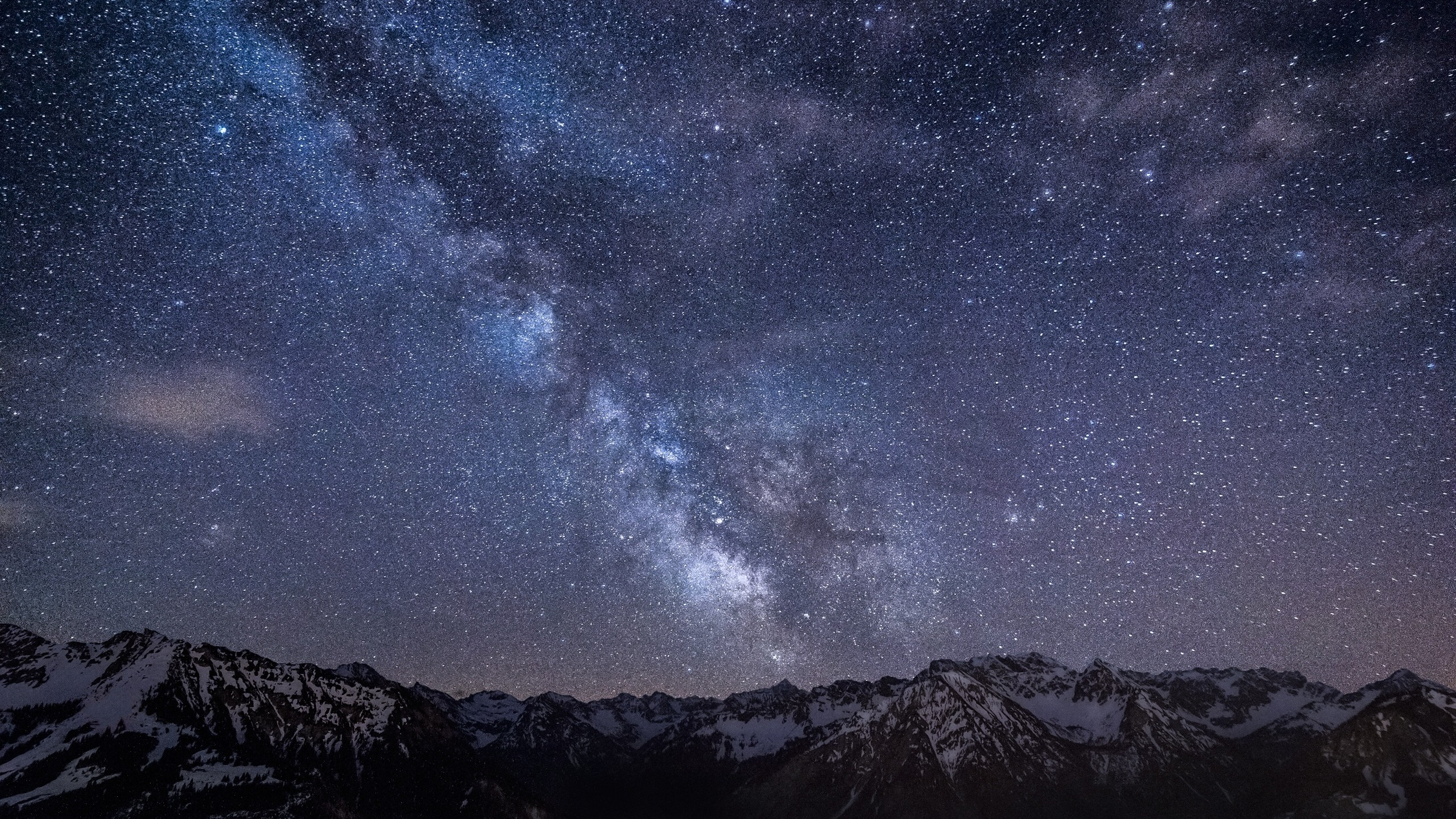 2560x1440 Preview wallpaper milky way, stars, mountains, night, germany, bavaria, sky