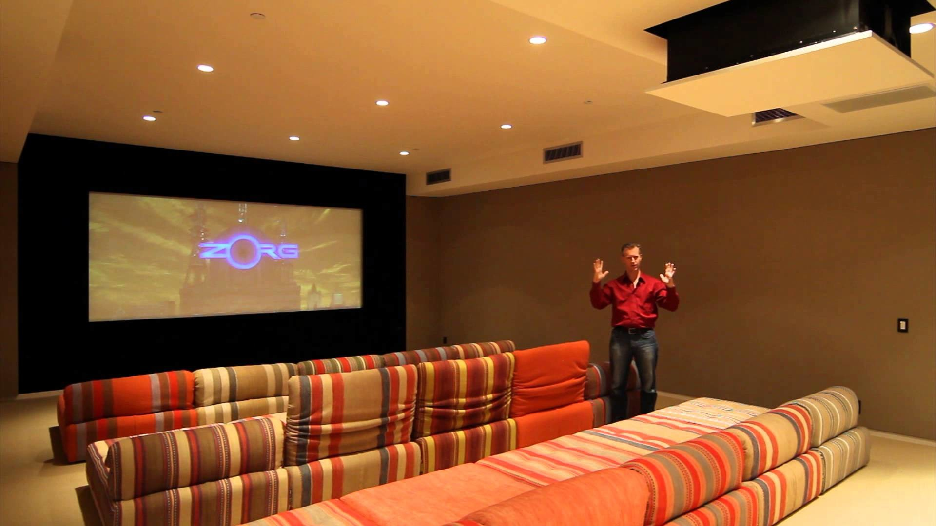 1920x1080 Custom Home Theater with drop-down projector, screen masking, and home  automation tie-in - YouTube