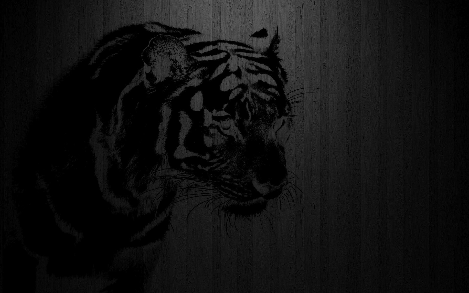 1920x1200 Black Tiger Print On Wood