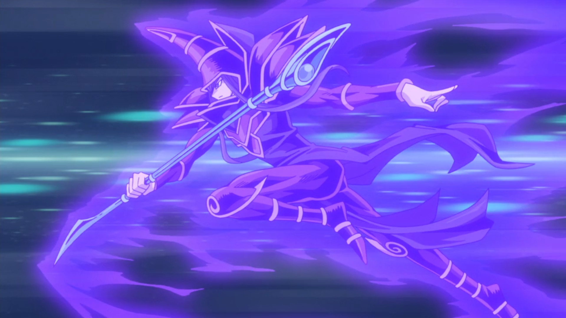 "1920x1080 Dark Magician attacks alongside ""Elemental HERO Neos"" and ""Stardust Dragon""."