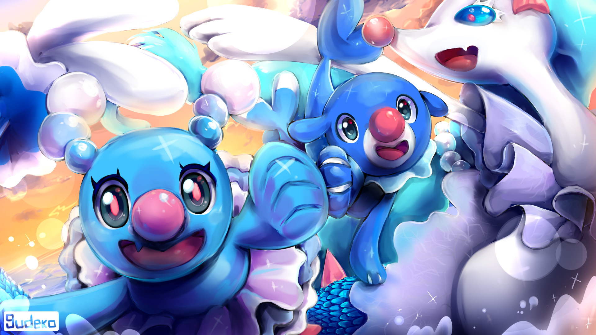 1920x1080 Video Game - Pokémon Sun and Moon Primarina (Pokémon) Brionne (Pokémon)  Popplio