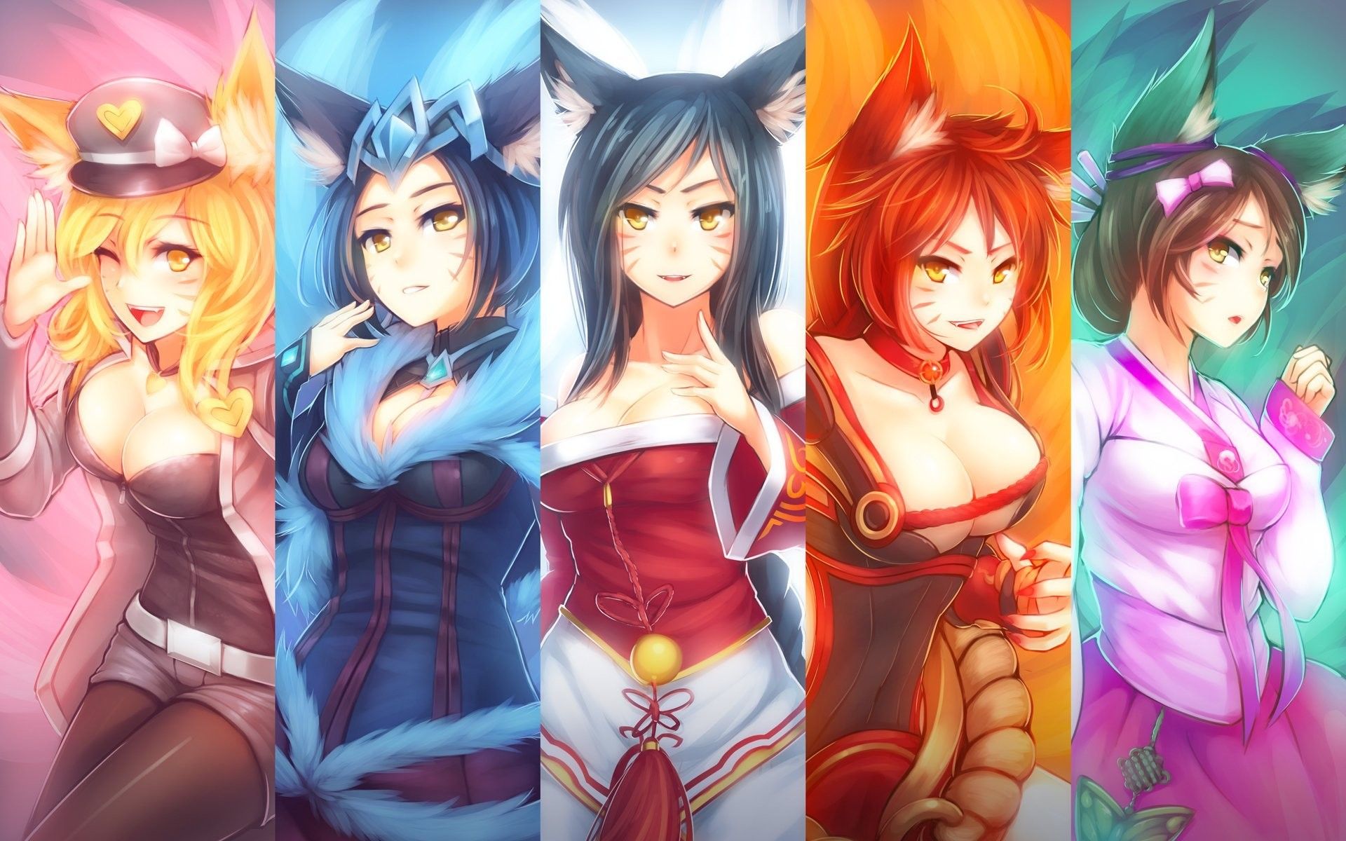 1920x1200 lol ahri league of legends fox nine-tailed fox
