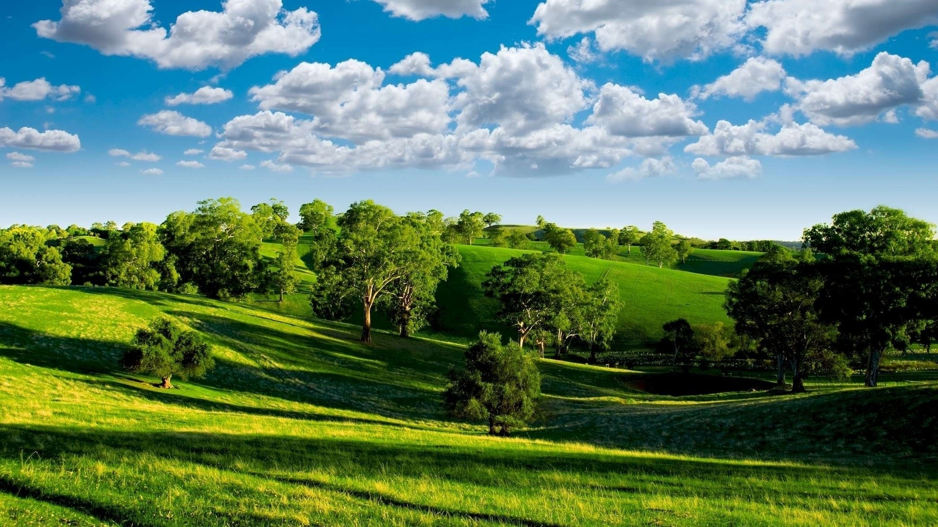 1920x1080 Preview wallpaper summer, hills, trees, green, meadows, clouds, sky,