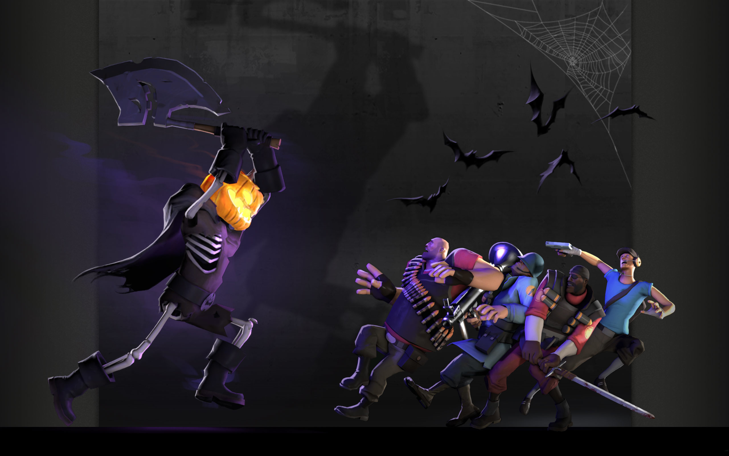 2560x1600 Heavy tf2 halloween scout tf2 demoman tf2 team fortress 2 jack o lantern  bats spider webs soldier tf2 wallpaper |  | 17988 | WallpaperUP