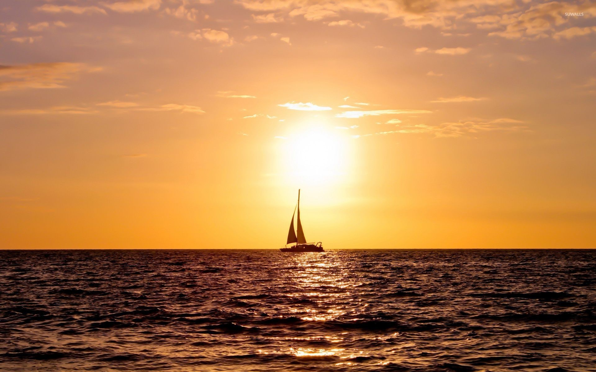 1920x1200 Sailing ship enjoying the ocean sunset wallpaper  jpg