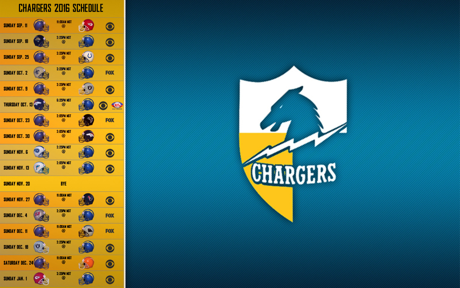 1920x1200 San Diego Chargers 2016 schedule wallpaper 1920 x 1200