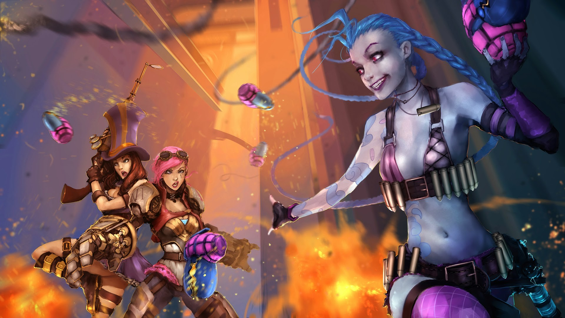 1920x1080 piltover jinx vi caitlyn girls league of legends hd wallpaper lol