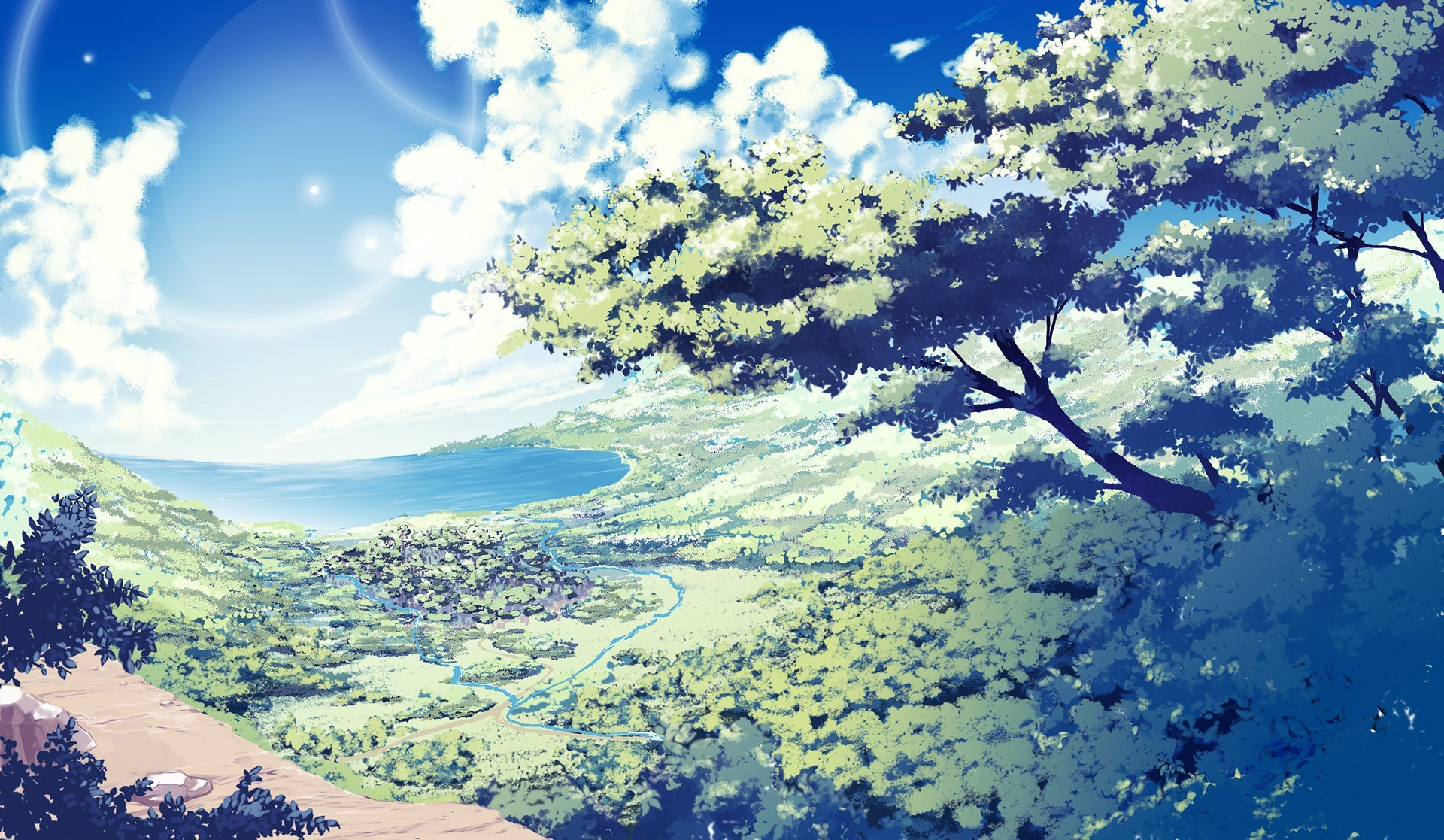 Anime nature wallpaper 77 images 1920x1117 nature anime scenery background wallpaper voltagebd Images