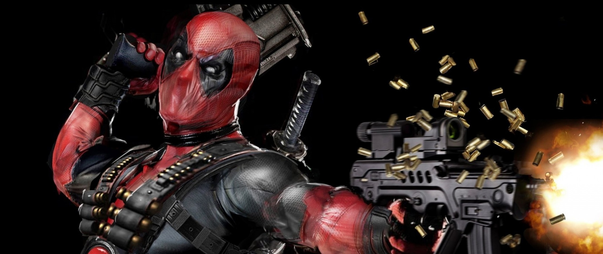 2560x1080 Preview wallpaper deadpool, mask, gun, automatic