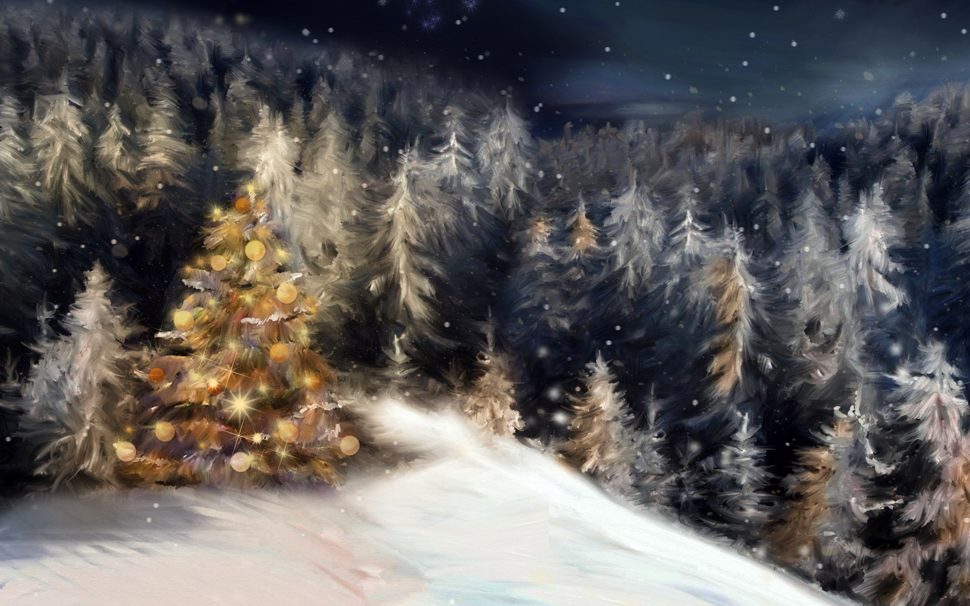 1920x1200 ... hd wallpaper · holidays, painting, Christmas, night, forest, pines, snow,  winter,