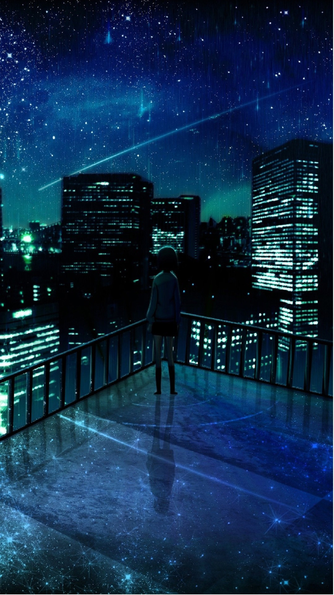 1080x1920 Girl Looking At Falling Star iPhone 6 Plus HD Wallpaper