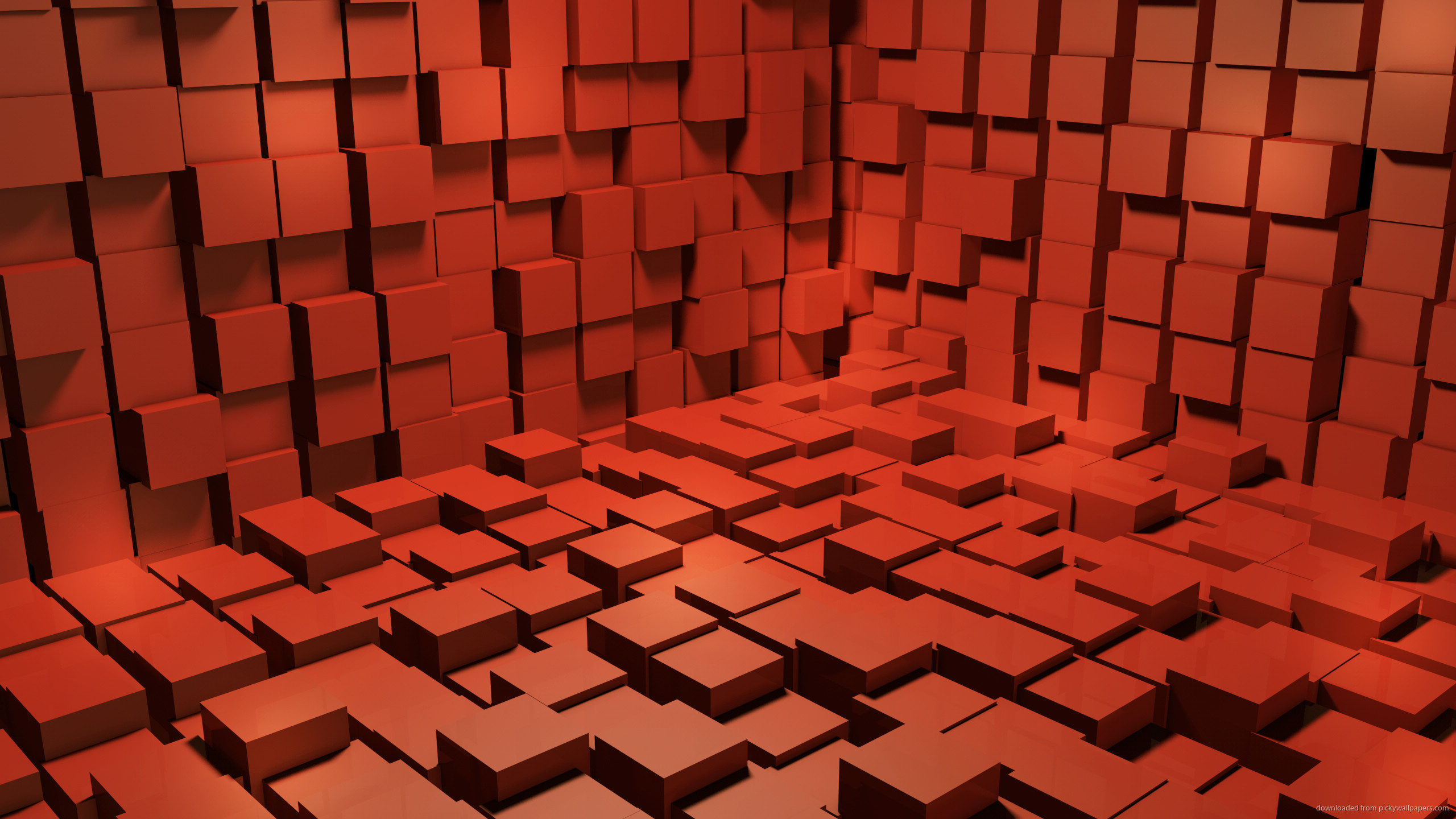 2560x1440 Red 3D Cubes Wallpaper Background for