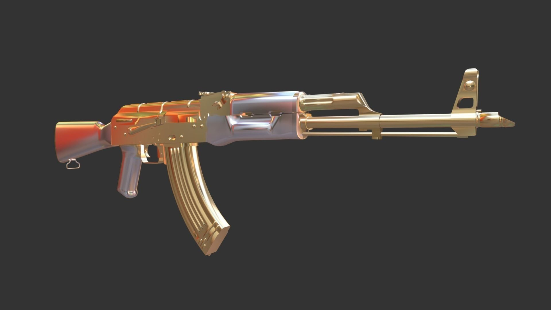1920x1080 ak 47 gold and silver parts mesh 3d model 3d model low-poly ...