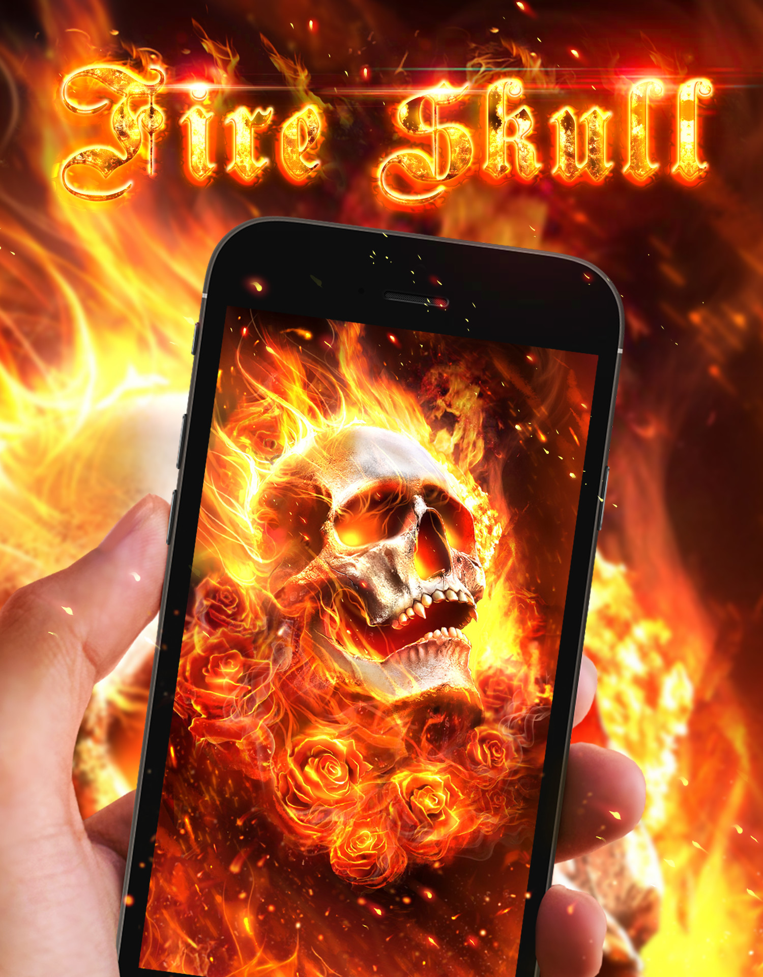 1500x1920 Cool fire skull live wallpaper!