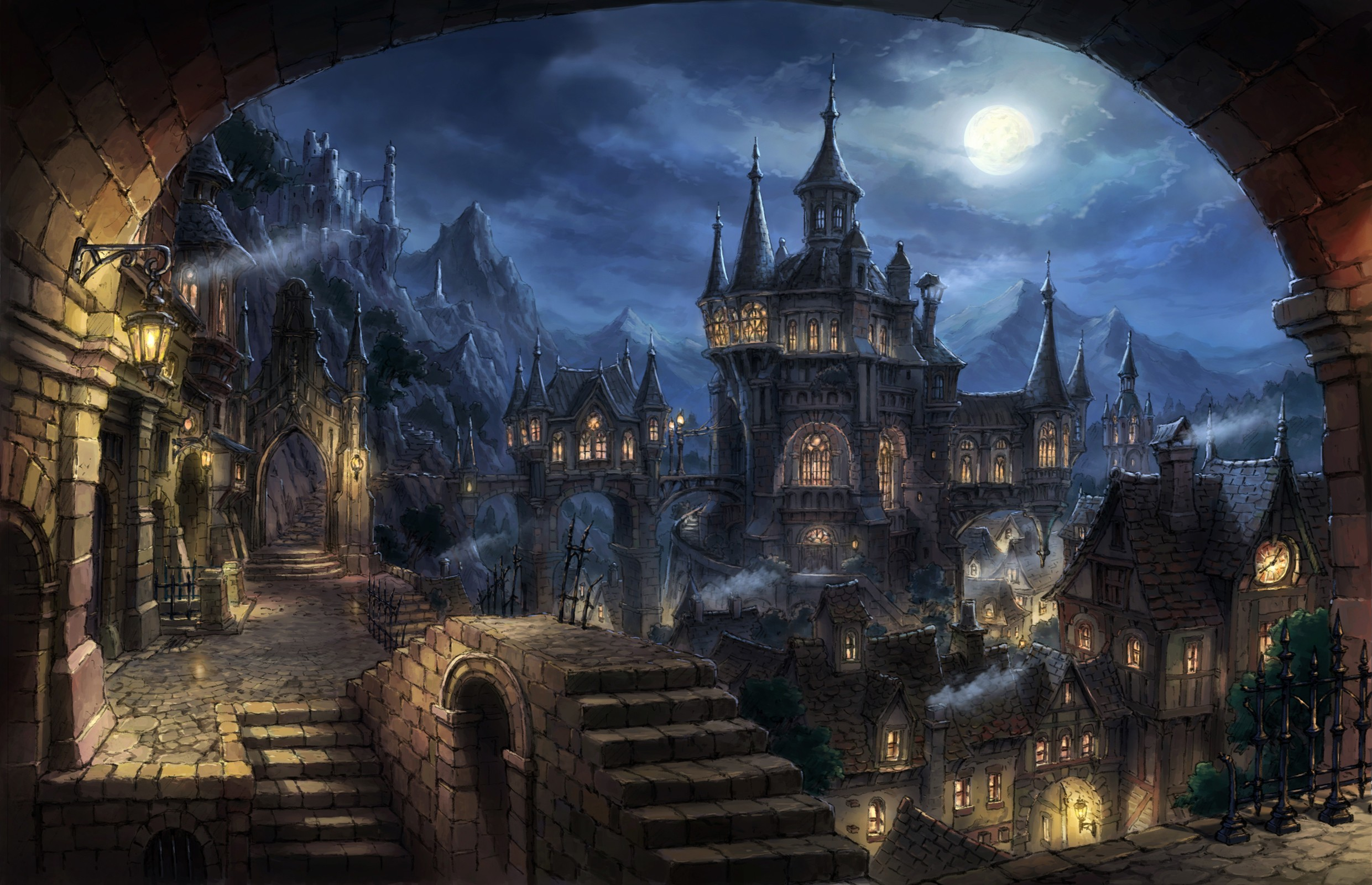 2481x1600 wallpaper cityscape · dark · fantasy art