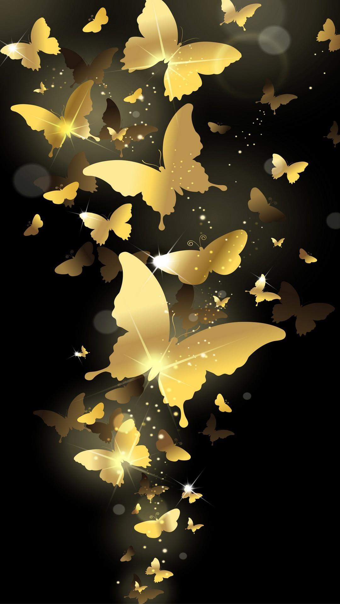 1080x1920 Flying Golden Butterflies Lockscreen IPhone 6 Plus HD Wallpaper