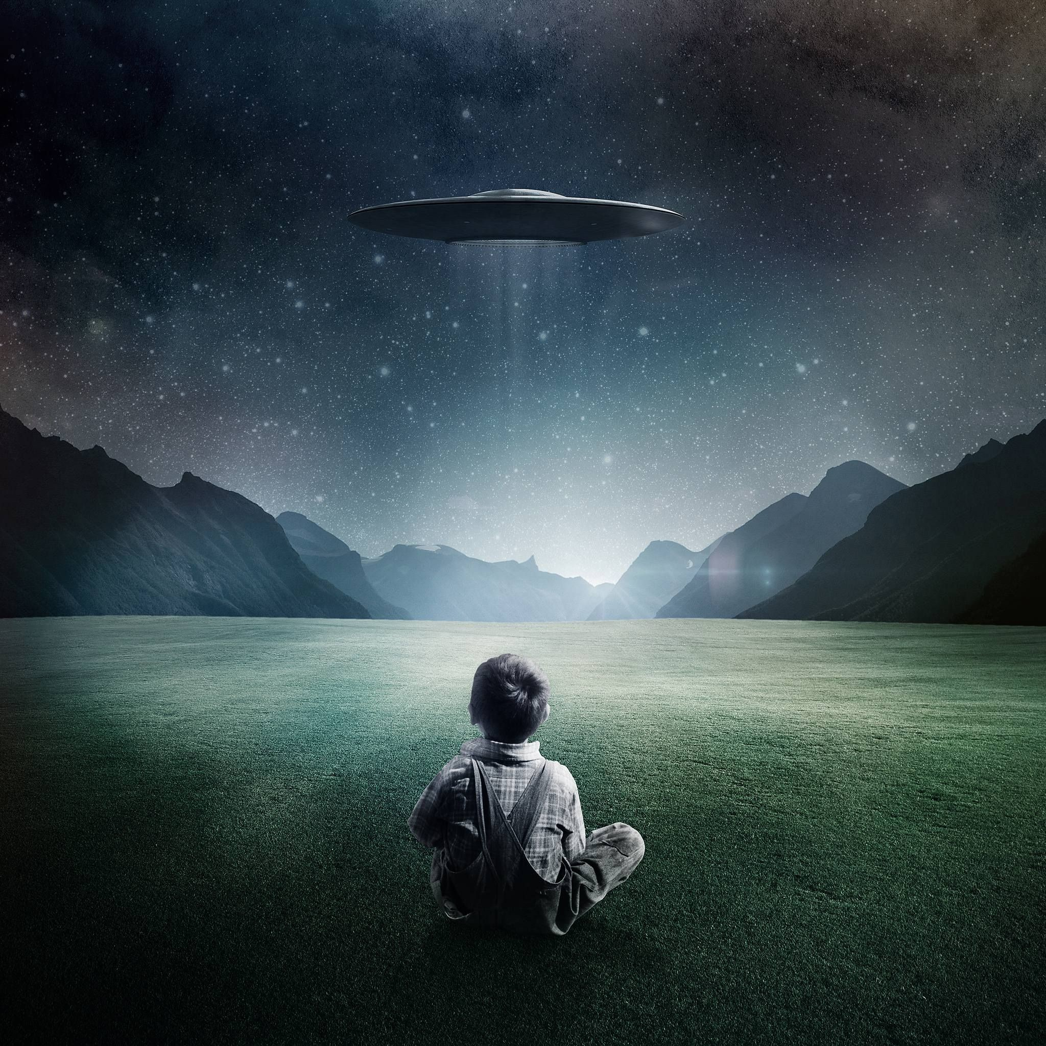 2048x2048 Boy and UFO iPad Wallpaper HD