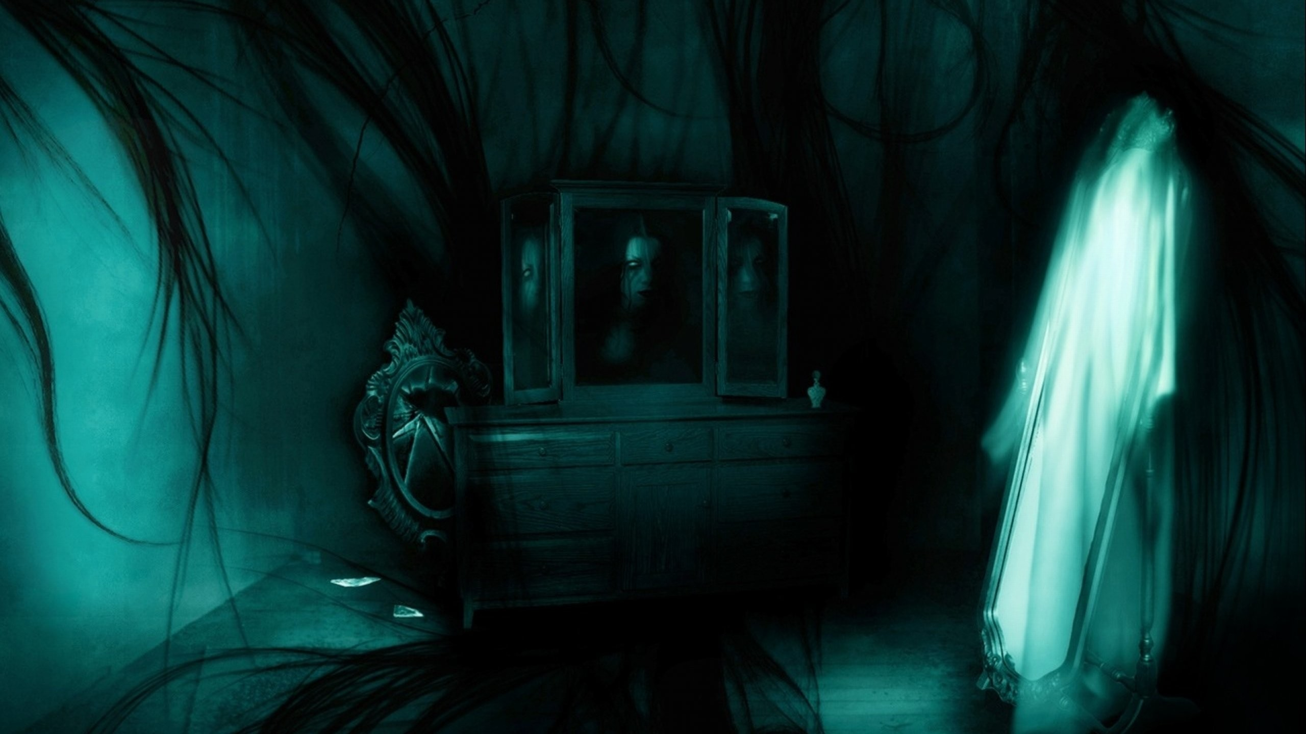 2560x1440 dark-ghost-fantasy-art-artwork-horror-spooky-creepy-halloween-gothic- wallpaper-1.jpg (2560×1440) | cool stuff | Pinterest | Creepy ghost, 3d  wallpaper and ...