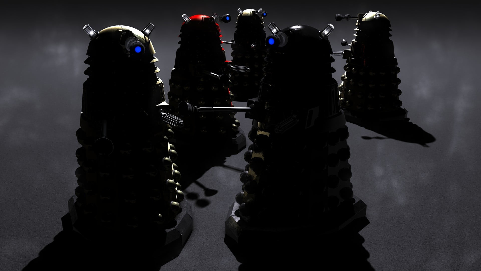 1920x1080 five assorted-color robots, Doctor Who, Daleks, science fiction HD wallpaper