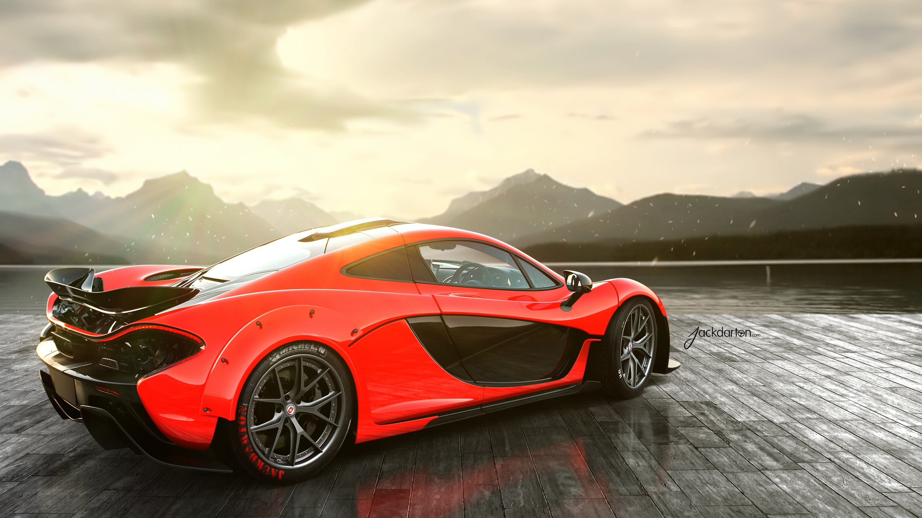 3840x2160 ... Background 4K Ultra HD.  Wallpaper mclaren, p1, red, rear