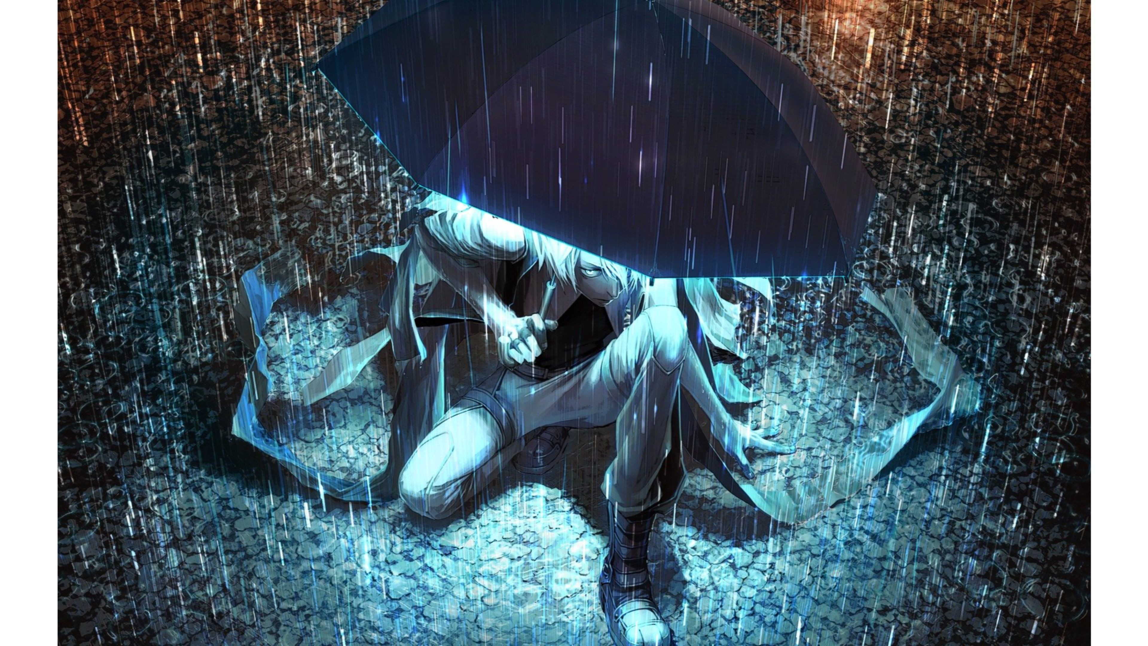 3840x2160 Under The Rain 4K Anime Wallpapers