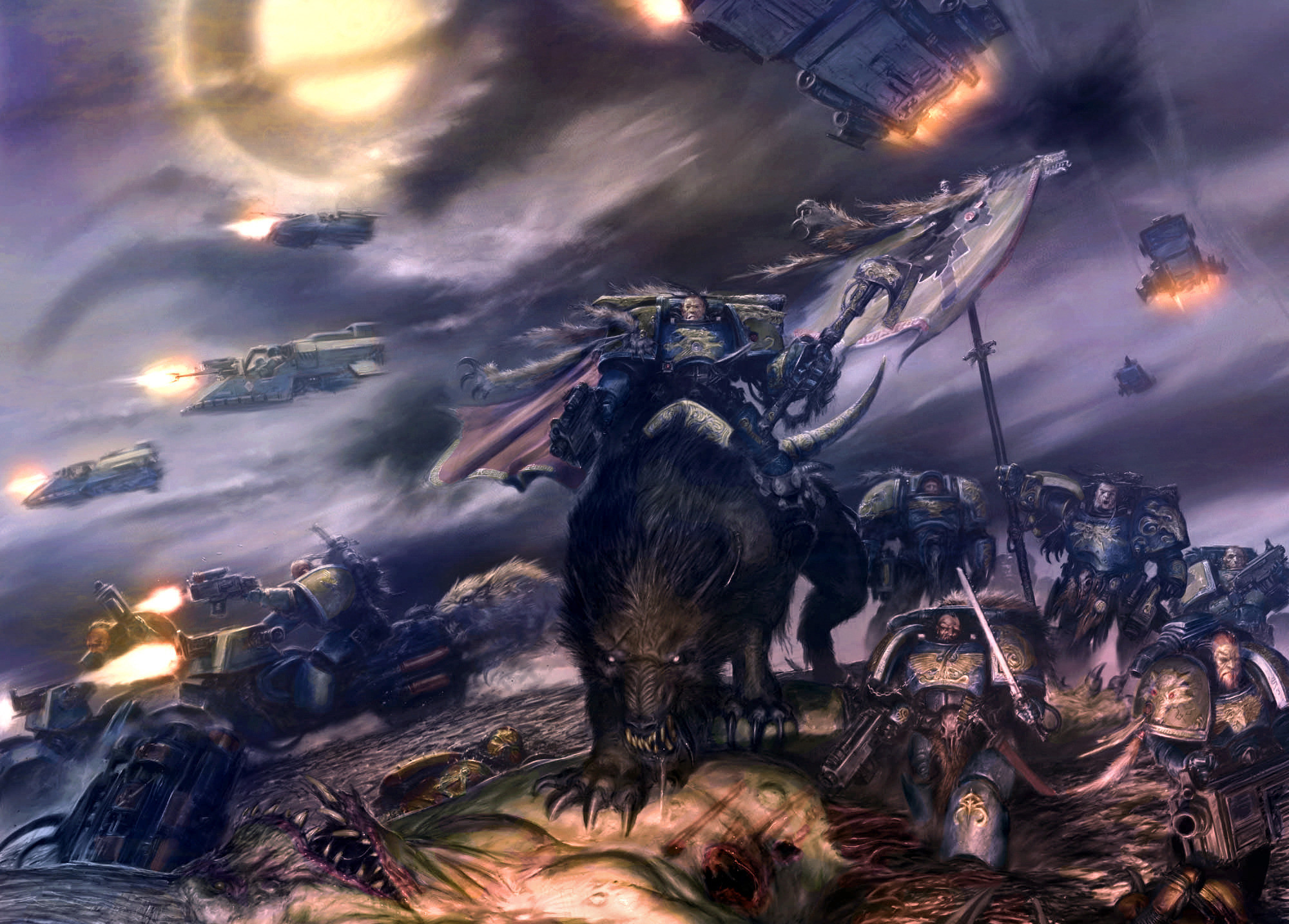2000x1434 Wallpaper Warhammer 40k, space wolves, spaceship, battle desktop .