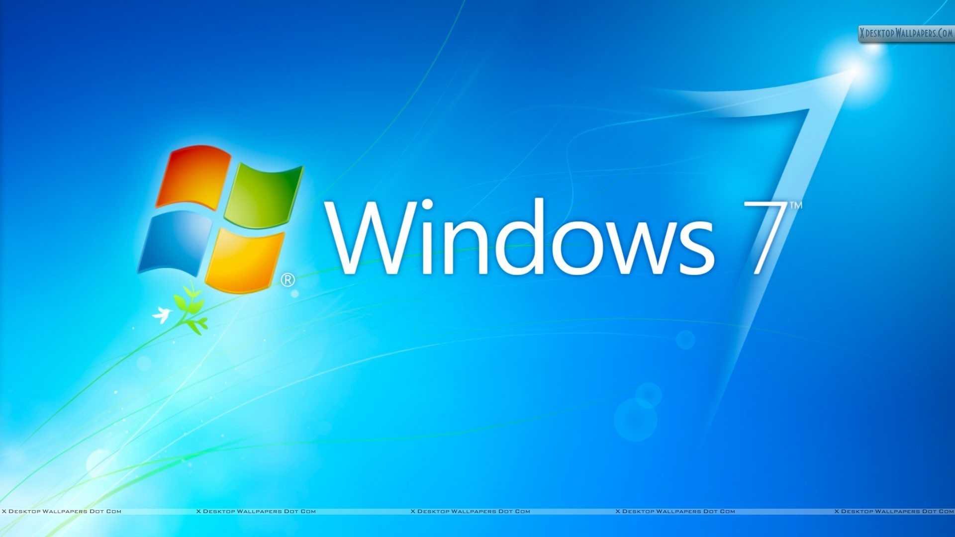 1920x1080 Windows 7 hd blue background with logo wallpaper