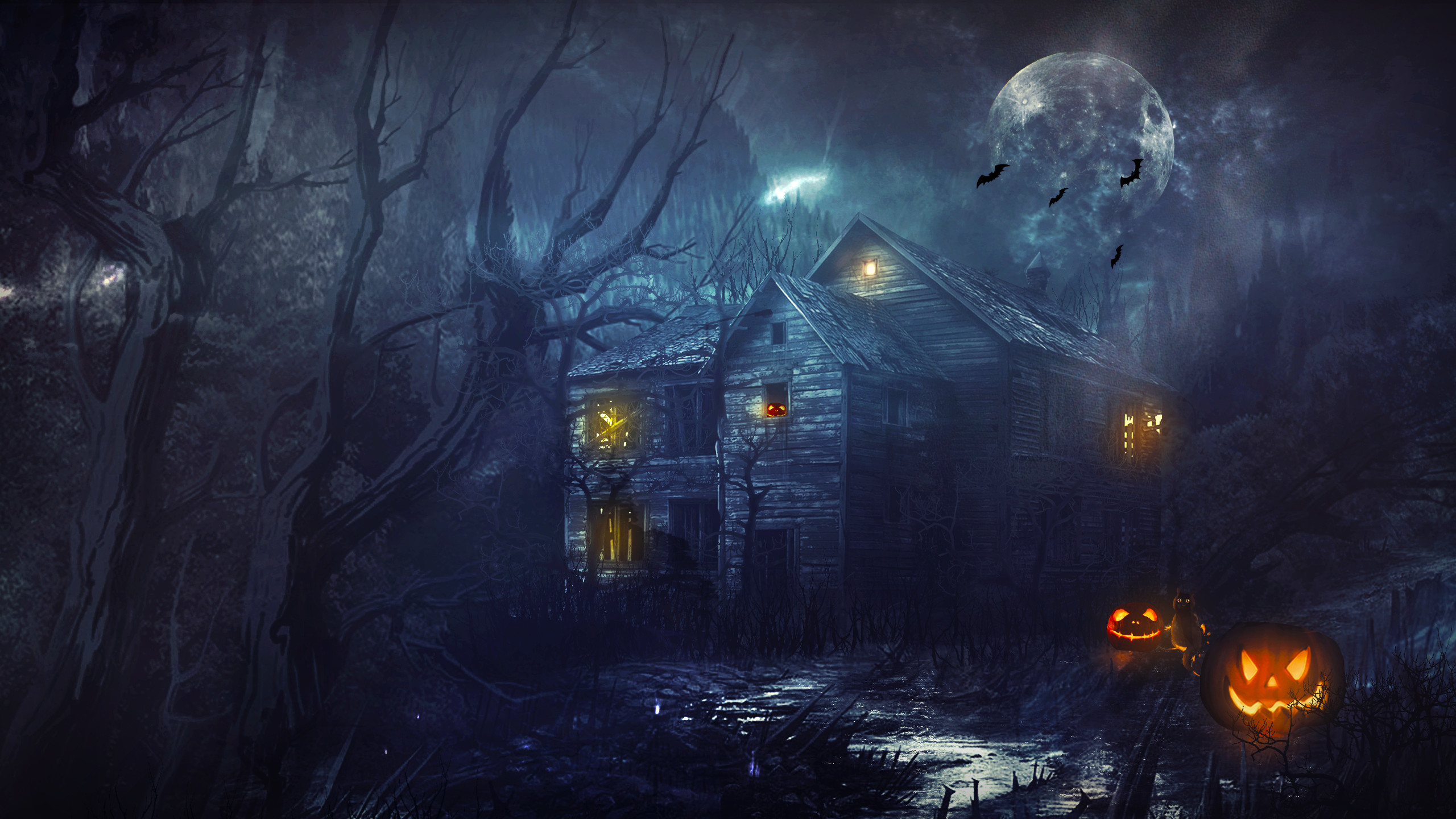 2560x1440 Halloween House Night Moon Pumpkin wallpaper |  | 166945 .