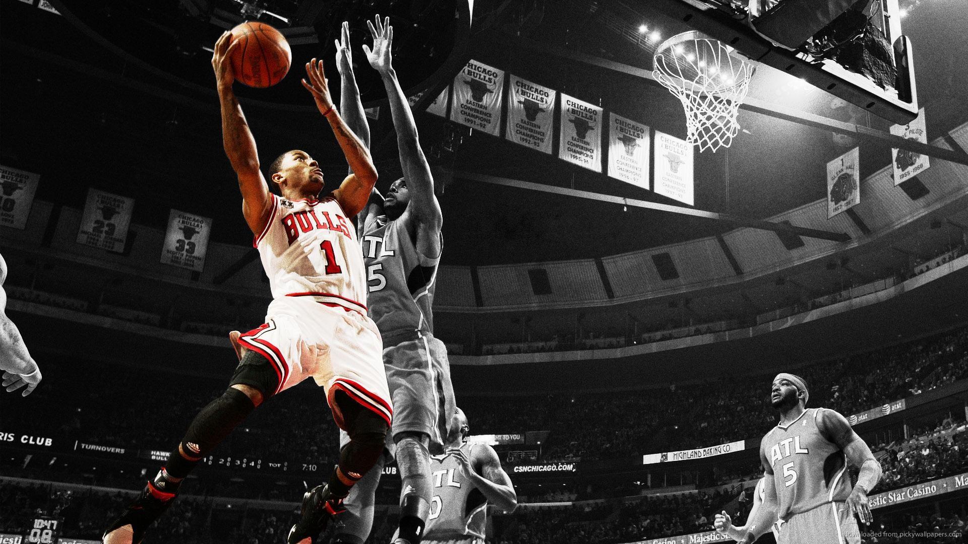 Derrick rose dunk on lebron james wallpaper