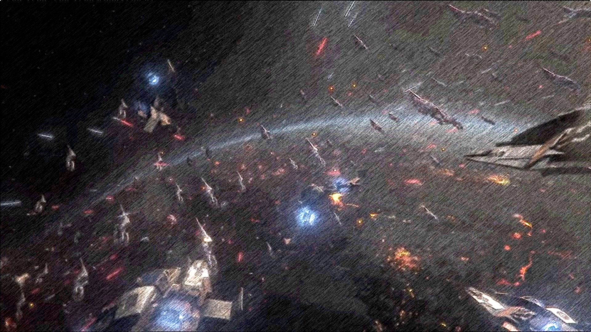 Epic star wars battle scene