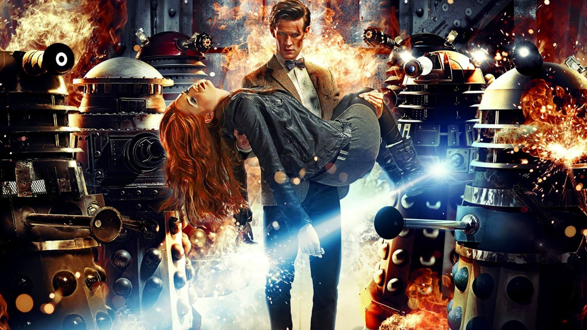 1920x1080 #Amy Pond, #Daleks, #Eleventh Doctor, #Doctor Who, #Karen Gillan, #fantasy  art, #Matt Smith, wallpaper