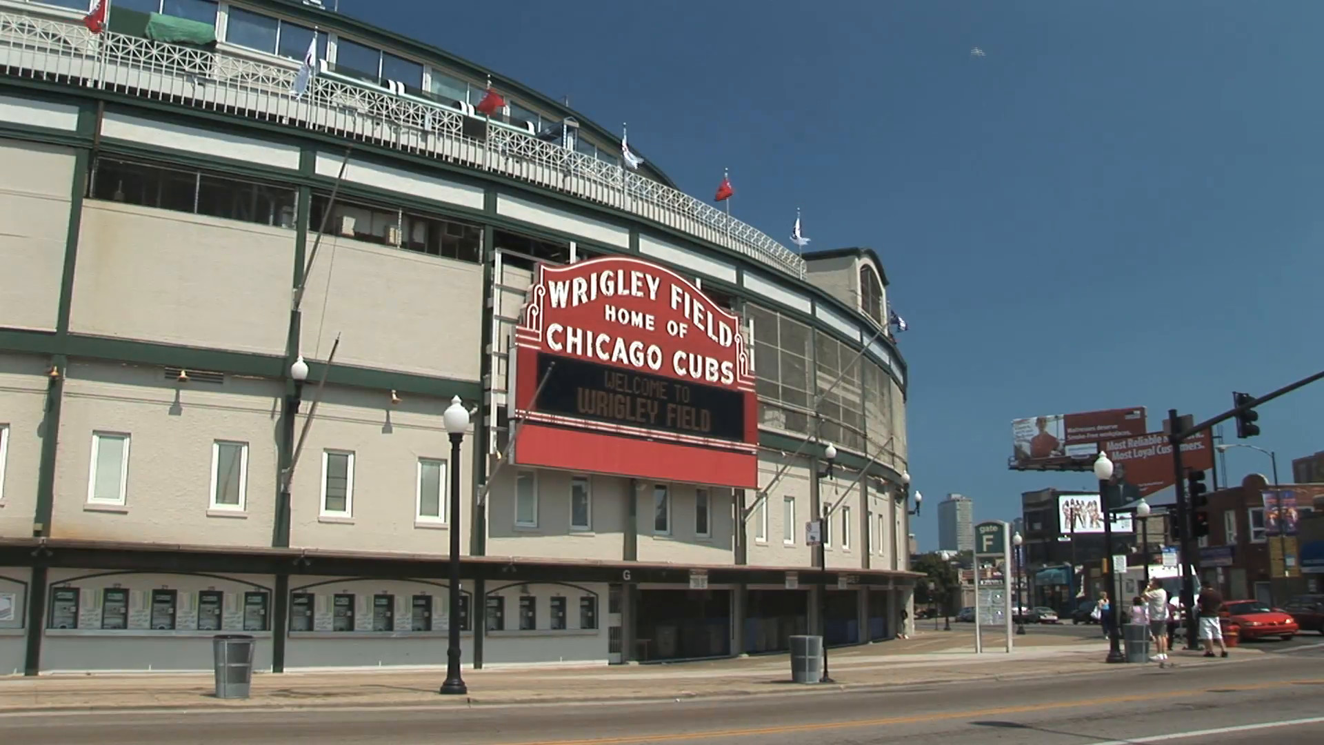 1920x1080 HD ES: Iconic Wrigley Field Baseball Stadium Marquee, Chicago. Filmed using  a Sony EX-3 at 1920*1080 Stock Video Footage - Storyblocks Video